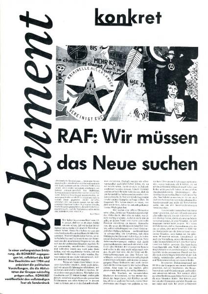 RAF-Erklärung: Wir müssen das Neue suchen